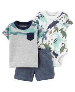 Baby Boys Dinosaur Little Short Set, 3 Pieces