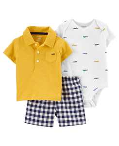 Baby Boys Car Little Short Set, 3 Pieces