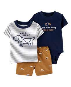 Baby Boys Dog Little Short Set, 3 Pieces