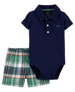 Baby Boys Polo Bodysuit and Short Set, 2 Pieces
