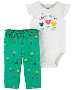 Baby Girls Little Sister Bodysuit and Pant Set, 2 Pieces