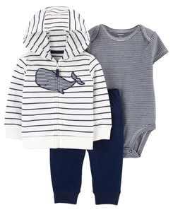 Baby Boys Whale Little Jacket Set, 3 Pieces