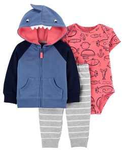 Baby Boy Shark Little Jacket Set, 3 Pieces