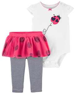 Baby Girls Ladybug Bodysuit and Pant Set, 2 Pieces