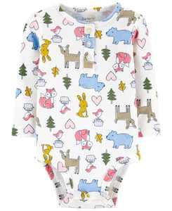 Baby Girl Animals Cotton Bodysuit