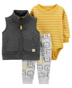 Baby Boys Lion Little Vest Set, 3 Pieces