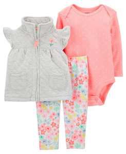 Baby Girls Quilted Little Vest Set, 3 Pieces