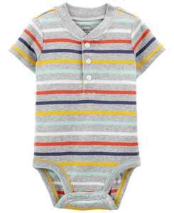Baby Boy Striped Henley-Style Bodysuit