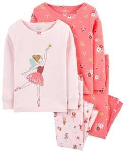 Baby Girls Snug Fit Pajamas Set, 4 Piece