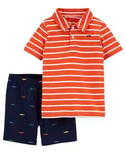 Toddler Boys 2 Piece Jersey Polo Short Set