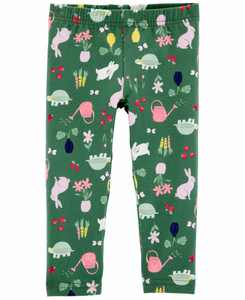 Toddler Girls Floral Bunny Capri Leggings