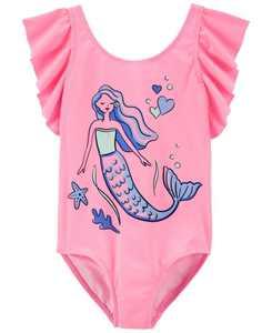 Little Girls Mermaid Swimsuit, 1 Piece