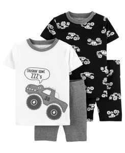 Baby Boys Monster Truck Cotton Pajamas, 4 Pieces