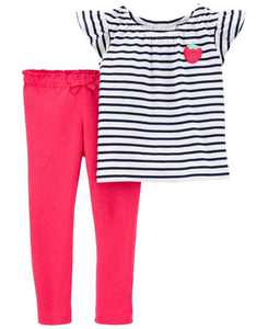 Baby Girls Strawberry Tee and Jersey Pant Set, 2 Pieces