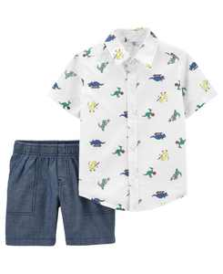 Baby Boys Button-Front Shirt and Short Set, 2 Pieces