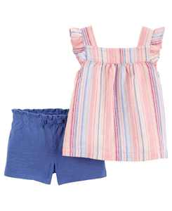 Baby Girls Striped Tee and Short Set, 2 Pieces