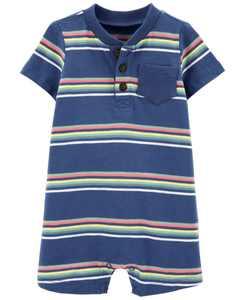 Baby Boys Striped Cotton Romper