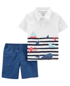 Baby Boys Jersey Polo and Poplin Short Set, 2 Pieces