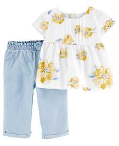 Baby Girls Floral Tee and Chambray Pant Set, 2 Pieces