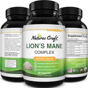 Lion's Mane Mushroom Memory Supplement Brain Support Mood Boost Chaga Maitake