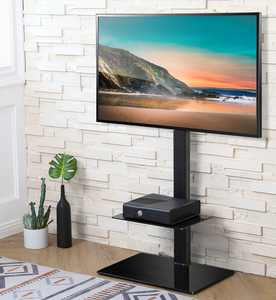 FITUEYES Modern Black Floor TV Stand for TVs up to 60 with Universal Swivel Mount, Space Saving for Corner Bedroom