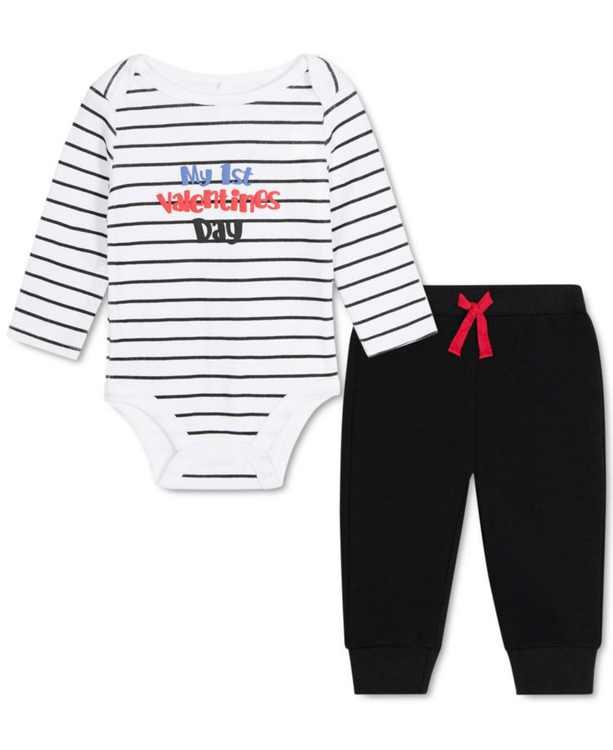 Baby Girls 2-Pc. Valentines Bodysuit & Leggings Set