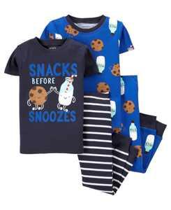 Toddler Boys 4 Piece Milk Cookies Snug Fit Pajama Set