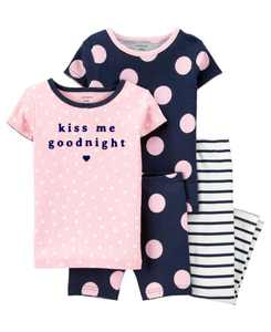 Toddler Girls 4 Piece Polka Dots Snug Fit Pajama Set