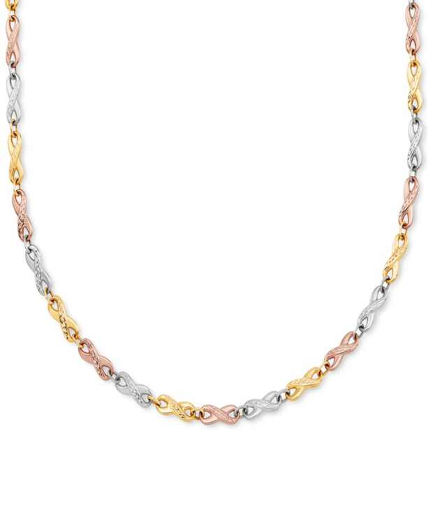 """Tricolor Stampato Link 18"""" Chain Necklace in 14k Gold, White Gold & Rose Gold"""