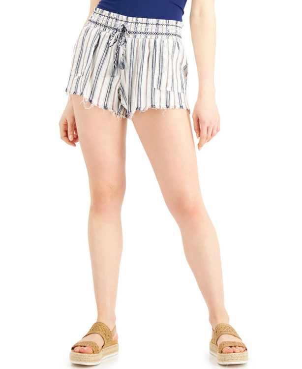 Juniors' Striped Frayed-Hem Shorts