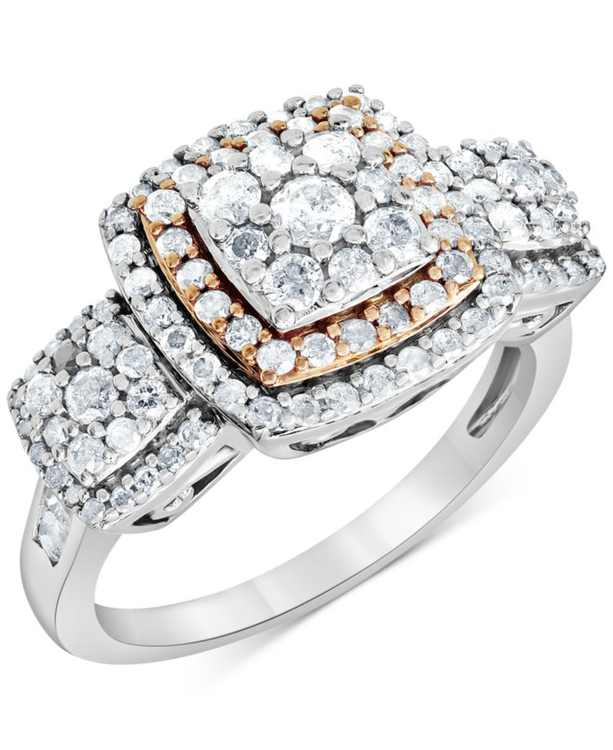 Diamond Cluster Statement Ring (1 ct. t.w.) in 10k White & Rose Gold