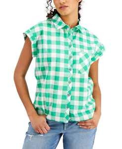 Cotton Gingham Camp Shirt, Created for Macy's