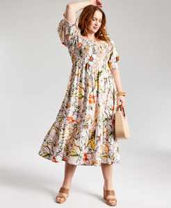 INC Plus Size Printed Puff-Sleeve Midi Dress, Created for Macy's