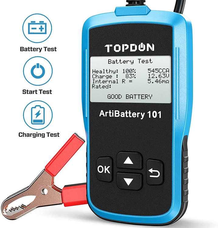 TOPDON Car Battery Tester AB101 12V Car Battery Load Tester on Cranking Charging Systems, 100-2000 CCA Alternator Analyzer Automotive