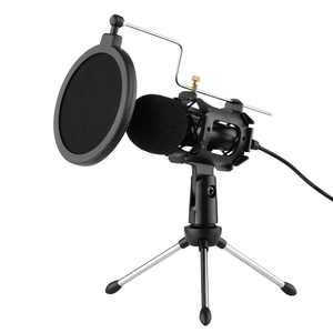Anself PC/Phone Microphone 3.5mm Plug and Play Home Recording Studio Equipment for Live Broadcast Conferencing Chatting