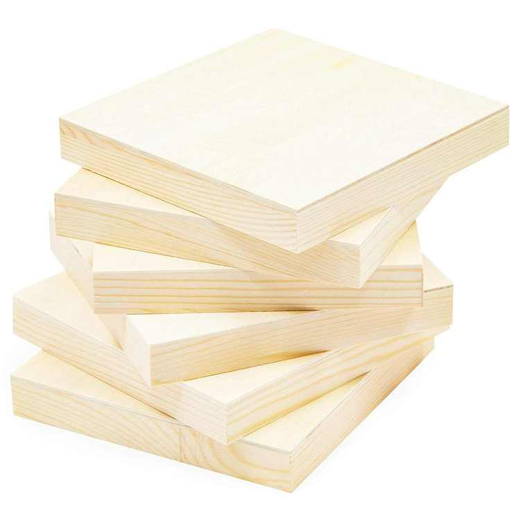 """6 Pack 6"""" Unfinished Square Wood Paint Pouring Panel Boards, Wood Art Boards, Artist Wooden Wall Canvases, for Art Craft Painting Mixed-Media Craft, Acrylic, 6 x 6 in"""