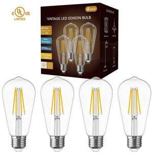 ST58 Vintage LED Edison Light Bulbs 60W Equivalent, Warm White 2700K, LED Filament Bulbs 6W E26 Base Lamp for Home, Restaurant, Reading Room, 600lm, 4 Pack