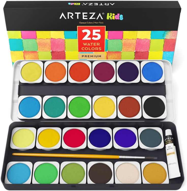 Arteza Washable Non-Toxic Kids Watercolor Paint Set, Assorted Opaque Colors - 25 Pack (ARTZ-8113)