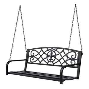 Outsunny Steel Fleur-de-Lis Design Outdoor Porch Swing Seat Bench With Chains up to 2 Person