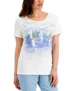 Petite Sailing Away T-Shirt, Created for Macy's