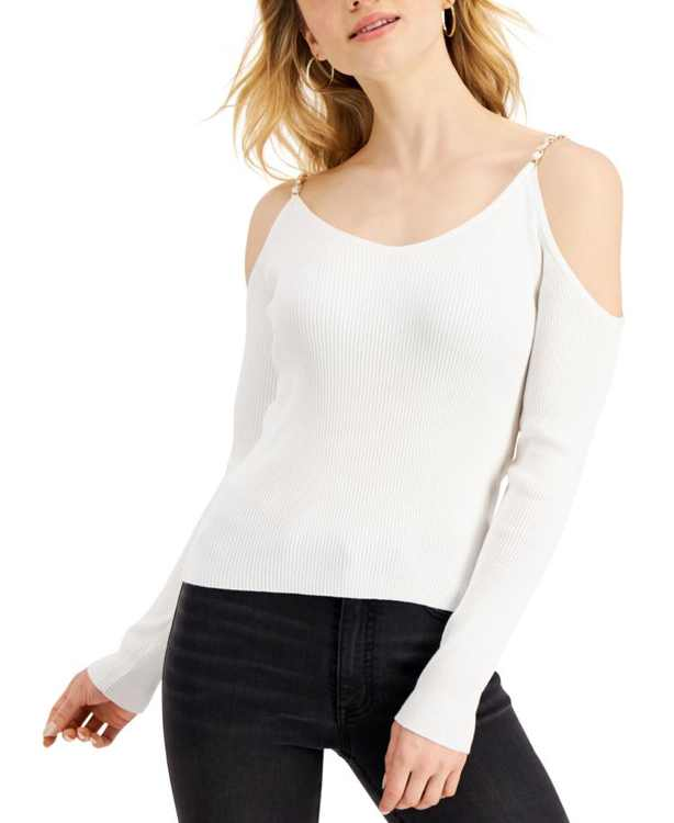 Juniors' Chain-Strap Cold-Shoulder Sweater