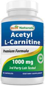 Best Naturals Acetyl L-Carnitine Dietary Supplement Capsules, 1000 Mg, 60 Ct