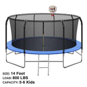 14FT Trampoline with Basketball Hoop&Safety Enclosure Net, 800LBS Capacity 5-6 Kids, Waterproof Mat and Ladder, Outdoor Backyard Trampolines, Basketball Trampoline for Kids/Adults
