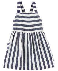 Baby Girls Striped Linen Dress