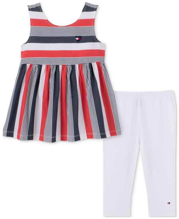 Baby Girls 2-Pc. Striped Babydoll Tunic & Capri Leggings Set