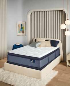 """Perfect Sleeper Renewed Night 16"""" Plush Pillow Top Mattress Set- Queen Split"""