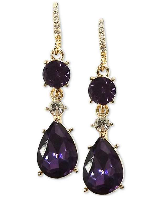 Crystal & Stone Linear Drop Earrings, Created for Macy's