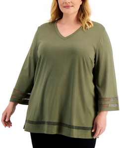 Plus Size Crochet-Inset Tunic, Created for Macy's