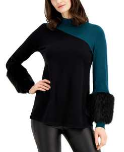 Colorblocked Sweater With Faux-Fur Cuffs, Created for Macy's