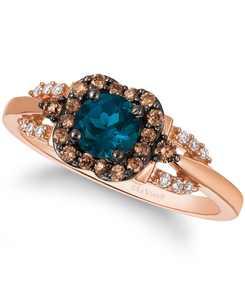 Chocolatier Deep Sea Blue Topaz (1/2 ct. t.w.) & Diamond (1/4 ct. t.w.) Ring in 14k Rose Gold